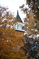 Clocktower in fall foilage