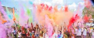 Students celebrating during Holi Festival