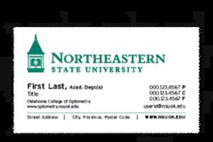 optometry business card standard