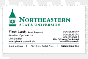 Optometry resident business card