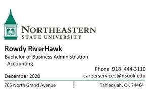 NSU Career Services Business Card